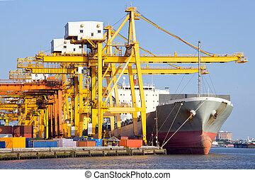 lading, industrieel schip, op, porto