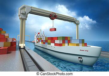 lading, kraan, container, het tilen