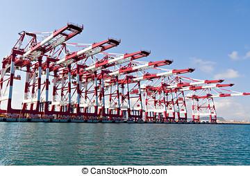 lading, kranen, in, industriebedrijven, porto