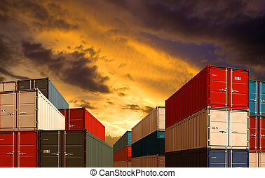 lading, of, expeditie, opperen, export, nacht, import, porto, containers