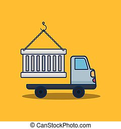lading, ontwerp, vrachtwagen