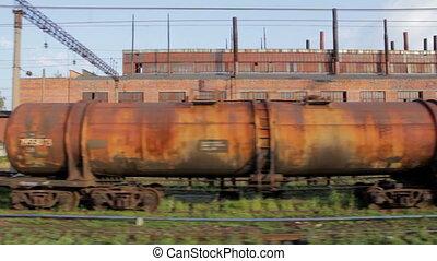 lading, oud, (full, roestige , trein, hd)