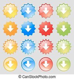 lading, plat, downloaden, set, kleurrijke, 16, groot, teken., moderne, knopen, vector, label., downloaden, icon., jouw, design.