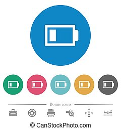 lading, plat, iconen, batterij, een, laag, ronde, eenheid