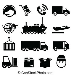 lading, set, expeditie, pictogram