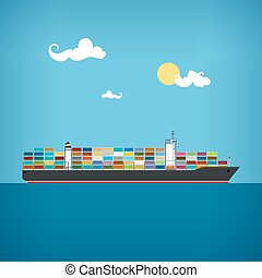 lading, vector, container, illustratie, scheeps
