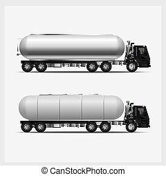 lading, vector, vervoer, vrachtwagens, illustratie