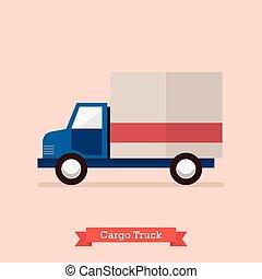 lading, vector, vrachtwagen, illustratie