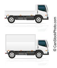 lading, vervoer, illustratie, vector, vrachtwagen, kleine