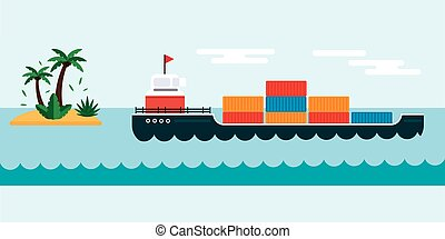lading, vervoer, illustration., vector, zee, scheeps