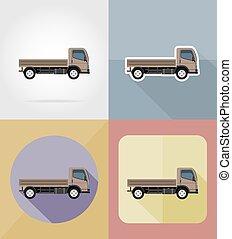 lading, vervoer, plat, iconen, illustratie, vector, vrachtwagen