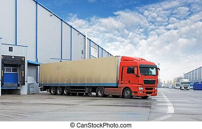 lading, vervoer, -, vrachtwagen, in, de, magazijn