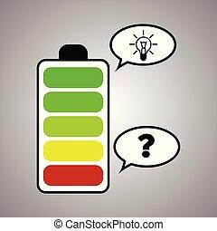 lading, volle, batterij, idee, meter, aanklacht, niveau's, vragen, brigth