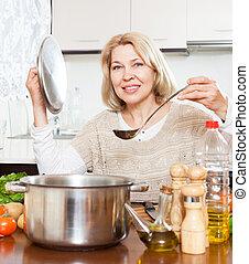 ladle, cozinhar, dona de casa, sopa, lar, panela, cozinha