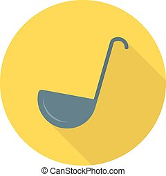Ladle, white, utensil icon vector image. Can also be used for food iconset. Suitable for use on web apps, mobile apps and print media.