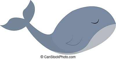 lado, conjunto, clipart, color, blanco, aislado, ilustración, vector, plano de fondo, ballena, o, visto
