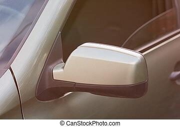 lado, espejo retrovisor, de, un, coche