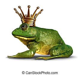 lado, príncipe, rana, vista