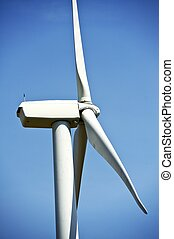 lado, primer plano, turbina del viento