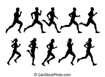 lado, silhuetas, pessoas, corredores, grupo, vista,...