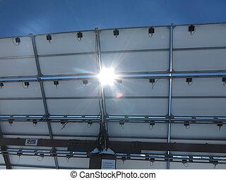 lado, solar, sunbeams., painéis, costas
