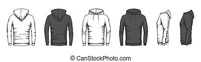 lado, vector, hoodie, unisex, espalda, sweatshirt, estilo, ropa, conjunto, frente, mockup., moderno, blanco, plano, deporte, encapuchado, casual, mercancía, demasiado grande