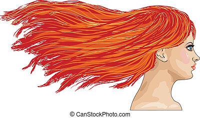 lado-vista, retrato, de, haired vermelho, menina
