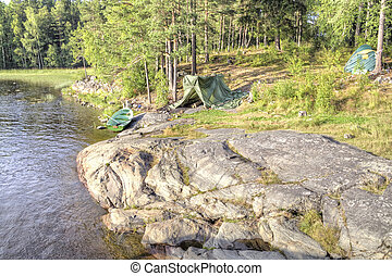 Ladoga. Camp fishermen - Camp tourist destination on the...