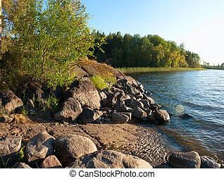 ladoga, lago, lakeside, em, pôr do sol, luz