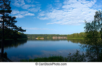 Ladoga lake panorama - Ladoga lake under blue sky panoramic...