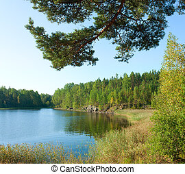 Ladoga lake under sunlight - Ladoga lake under summer...