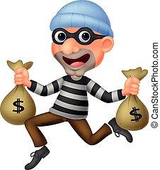 ladrão, dinheiro, saco carregando, caricatura