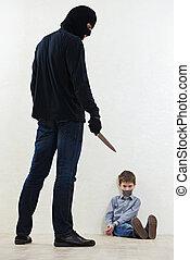 ladrão, kidnapper, criança