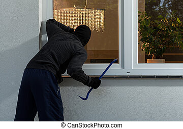 ladrón, antes, robo fractura, en, el, casa
