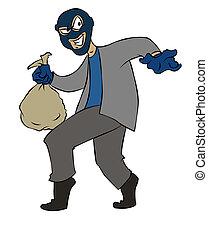 ladrón, caricatura, furtivo