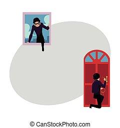 ladrón, casa, rotura, ladrón, ventana, por, puerta principal