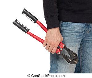 ladrón, con, rojo, perno, cortadores