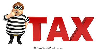 ladrón, impuesto, señal