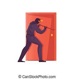 ladrón, plano, ilustración