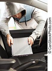 ladrón, robar, computador portatil, de, el, coche