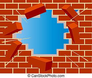 ladrillo, agujero, cielo, pared, roto