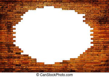 ladrillo, agujero, viejo, pared, marco, blanco