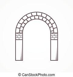 ladrillo, arco, icono, vector, línea, plano