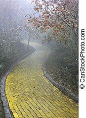ladrillo, camino amarillo