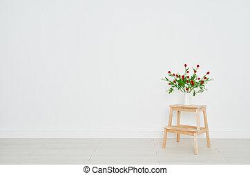 ladrillo, flores, vacío, plano de fondo, pared, ramo, ...