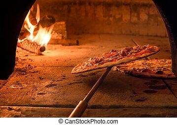 ladrillo, horno, en, un, pizza, restaurante, en, roma