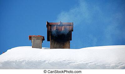 ladrillo, nieve, chimenea