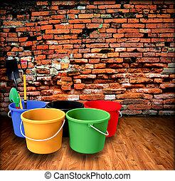 ladrillo, pala, cubo, wall.