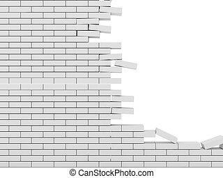 ladrillo, plano de fondo, pared, aislado, roto, blanco