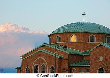 ladrillo rojo, iglesia